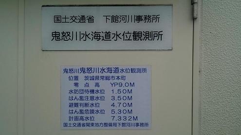 鬼怒川水海道水位観測所 標識