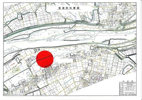 H26・27鎌庭管内維持管理工事完成図 仮堤防位置図
