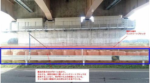 圏央道の橋脚の保護工 裏法面の様子2