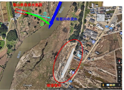 篠山救急排水施設 放流水の流れ