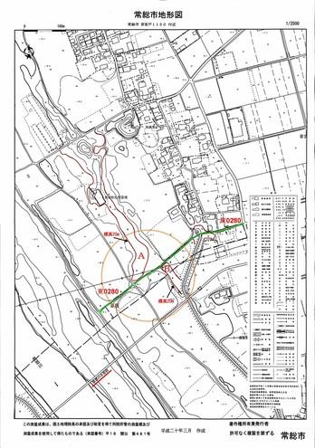 若宮戸の水管橋付近 市道「東0280」周辺の地形1
