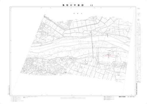 若宮戸平面図(下流) 22m等高線赤入れ